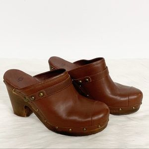 Ugg | Brown Leather Heeled Shearling Clogs 9